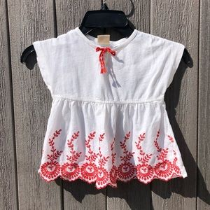 Zara Girls white and red embroidered top